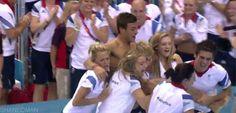 Team GB celebrating Tom Daley getting bronze in the 10m platform. London 2012