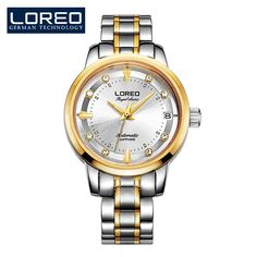 89.00$  Buy now - http://ali8vf.shopchina.info/go.php?t=32787222883 - LOREO royal classic authentic diamond automatic mechanical gold stainless steel hollow fashion waterproof sport watch  #buymethat