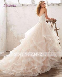 Loverxu Strapless Appliques Beaded Ball Gown Wedding Dress 2017 Graceful Organza Princess Bridal Dress Hot Sale