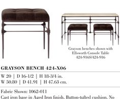GRAYSON BENCH. TWO OF THESE TO FIT UNDER GRAYSON TABLE (RIGHT OF FIREPLACE) FOR EXTRA SEATING IN GREAT ROOM French Provincial Home, Extra Seating, Tufting Buttons, Vanity Bench, Great Rooms, Cast Iron, Dining Bench, Cushions, Fit