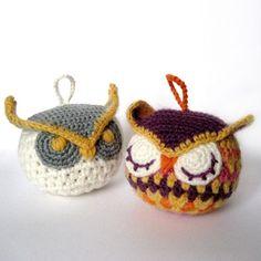 Amigurumi Pattern -- owl ornaments
