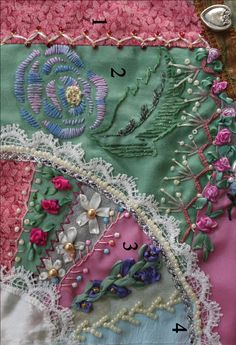 Crazy Embellishment Quilting Silk Ribbon Embroidery | If you follow the numbers, you'll be able to match the description ...