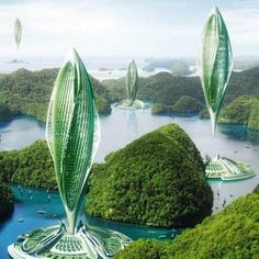 Farmscrapers - French architect Vincent Callebaut has designed multi-tiered farms that he dubs Farmscrapers for the Chinese city of Shenzhen. Architecture Durable, Floating Architecture, Futuristic Architecture, Sustainable Architecture, Sustainable Design, Amazing Architecture, Contemporary Architecture, Landscape Architecture, Architecture Design