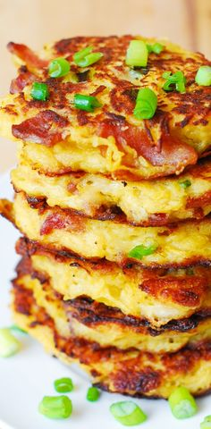 Bacon Spaghetti Squash & Parmesan Fritters. So unbelievably good! Kids love these - what a great way to incorporate veggies! Serve with a dollop of Greek yogurt. #gluten_free #snacks #appetizers