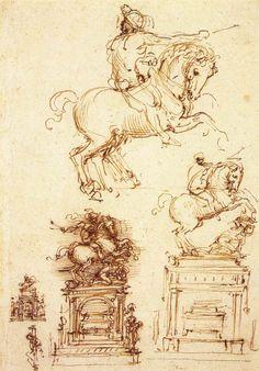 Leonardo da Vinci, 1452-1519, Italian, Study for the Trivulzio Equestrian Monument, 1508-1510. Pen and ink on paper, 28 x 19.8 cm. Royal Collection Trust, Windsor. High Renaissance.