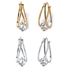More than hoop earrings, this two-pair set has bold dimension and extra sparkle appeal with a large 2 carat cubic zircon-R5r6pfmP