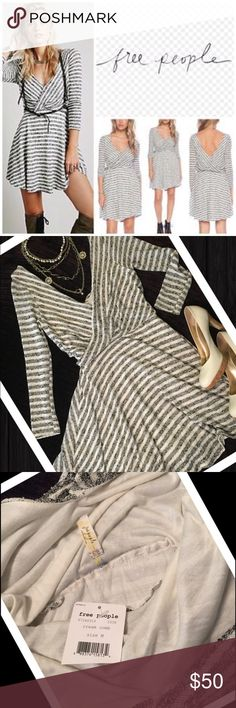 NWT Free People Cream Comb Gray Striped Dress Free People NWT Size M Blackish Gray striped Cream  Fully Lined Long sleeve 62% polyester 38% Cotton Lining is 100% Rayon 36in shoulder top to hem 17in armpit to armpit laying flat unstretched  15in waist laying flat unstretched  21in sleeve length Free People Dresses Midi