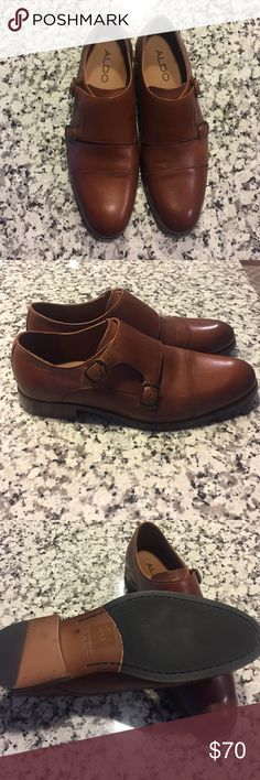 Men's Dress shoe Aldo NEVER BEEN WORN Men's size 7.5 dress shoe. Style-Austin Color Cognac. NEVER BEEN WORN! see image small imperfections-shoes came this way. Ordered online. True to size. Aldo Shoes Loafers & Slip-Ons