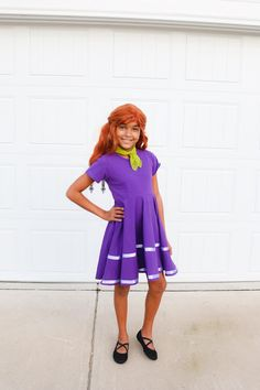 A Fun Scooby Doo Family Costume and How to Create Your Own - Pretty Real Brown Pants, Blue Pants, Create A Family, Create Your Own, Red Wigs, Orange Tie, Green Tee, Purple Ribbon, Blonde Wig