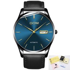 23bcd0754a Men S Watch New Dom Top Luxury Brand Real Leather Sport Watch Mechanical  Wristwatches Waterproof