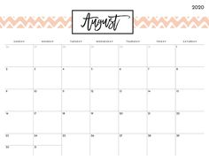 Cute August 2020 Calendar Design August Calender, 2020 Calendar Template, August Month, Calendar Wallpaper, Calendar Design, Life Organization, Nature Photos, Desk, Templates