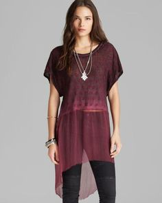 platinum-finds ~ Products ~ Free Poeple Diamond Dip Dye Embroidered Embellished Tunic Top M ~ Shopify
