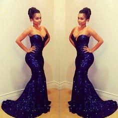 Strapless Purple Sequin Dress