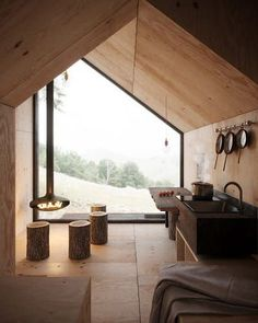 Modern architecture house design with minimalist style and luxury exterior and interior and using the perfect lighting style is inspiration for villas mansions penthouses Cabin Design, Tiny House Design, Tiny House Cabin, Tiny Cabins, Wood Cabins, Cabin Interiors, Small House Interiors, Cabins In The Woods, Interior Architecture