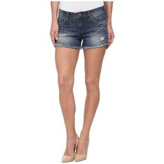 Blank NYC Denim Cut Off Distressed Short in Stage 5 Clinger Women's... ($78) ❤ liked on Polyvore featuring shorts, zipper pocket shorts, distressed jean shorts, denim shorts, cut off denim shorts and leather shorts