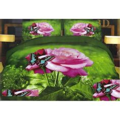 Obliečka na postele zelenej farby s 3D motívom ruže Blankets, Painting, Paintings, Blanket, Rug, Draw, Cover, Drawings