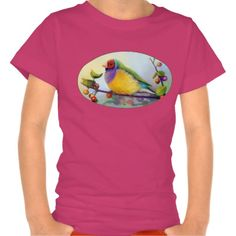 Gouldian Finch kid t-shirt. Available for women and men clothing too. #zazzle #petopet #finch #bird #gouldianfinch #erythruragouldiae #ladygouldianfinch #painting #petportrait #realism #realistic #drawing #rainbow #avian #zazzle #petopet #emmil #thomas #deviantart #merchandise #sale #finches #birds #tshirt #tshirts #white #kid #kids #girl #girls