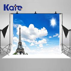 Europe Eiffel Tower Paris Sunny Photography Backdrops Blue Sky