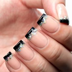 Nude With Black French Tips & Holographic Glitter Accents Nail Art Design Tutorial—Quick Nails!