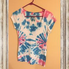 Pink and blue tie dyed v neck Super cute tie-dye shirt  [ 90s cute neon pastel bright tie dye girly ] Tops Tees - Short Sleeve