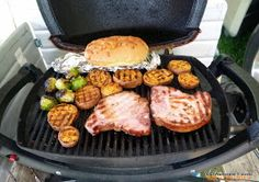 Cooking on my Weber Q-100 and other recipes: Brussel Sprouts, Sweet Potatoes and smoked pork Chops
