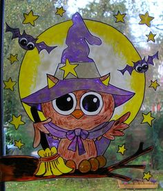 WICOART STICKER WINDOW COLOR CLING FAUX STAINED GLASS HALLOWEEN OWL WITCH