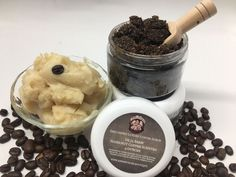 Handmade Coffee Butter infused Coffee Scrub scented in Hazelnut Coffee..thick, creamy, and buttery in the most amazing nutty vanilla coffee scent...must have! $10 each.