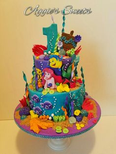 Birthday cake decorating girls little mermaids Super ideas - Cake Decorating Cupcake Ideen Little Mermaid Birthday Cake, Little Mermaid Cakes, Little Mermaid Parties, The Little Mermaid, Cake Birthday, Sirenita Cake, Ariel Cake, Ocean Cakes, Birthday Cake Decorating