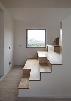 The zigzagging roof of this family residence in South Korea prompted architecture studio Apparat-C to name it Twin Peaks House. Cabinet D Architecture, Architecture Details, Interior Architecture, Interior Stairs, Interior And Exterior, Interior Design, Modern Staircase, Staircase Design, Bleacher Seating