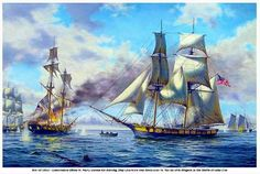 Oil marine and ship painting of the Battle of Lake Erie and the USS Niagara. Richard C Moore, artist Sailboat Art, Nautical Art, Sailboats, Naval History, Military History, Old Sailing Ships, Sailing Boat, Cincinnati Museum, Uss Constitution