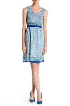 Sleeveless Smocked Border Print Dress
