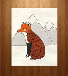 This illustrated pen and ink print features a gentle fox, looking cozy, colorful and perhaps a little sleepy. We'll let you be the judge of that.