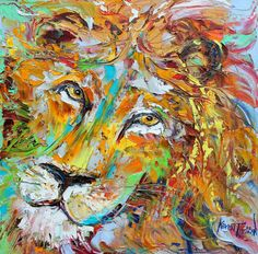 Abstract impressionism LION PORTRAIT by Karensfineart