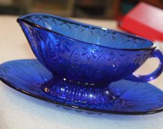 Vintage Cobalt Blue Glass Gravy Boat Made In France Looks Great I Love this one