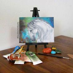 Breath of Life, Oil on Canvas by Landi-Michelle.   #landimichellearts #prestallion #caballo #instagram #equine #cheval  #andalusian #minipainting #magical #unlimitedmoves