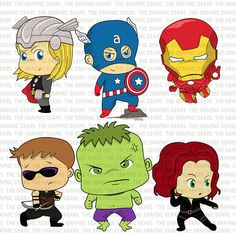 Baby Avengers Clip Art Set Avengers Heroes Clipart - Little Young Avenger Heroes - captain america, iron man  (personal or commercial use)