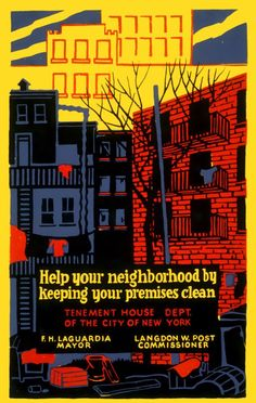 A 1937 Works Progress Administration/Federal Art Project poster asking New Yorkers to keep the premises clean.