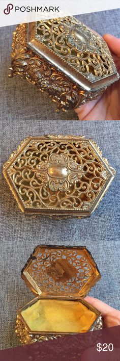 Vintage Delicate Jewelry Box BEAUTIFUL 15% off on bundles // I ship same-day from pet/smoke-free home. Buy with confidence. I am a top luxury brand seller with close to 400 5-star ratings and A LOT of love notes. Check them out. 😊😎 Vintage Accessories