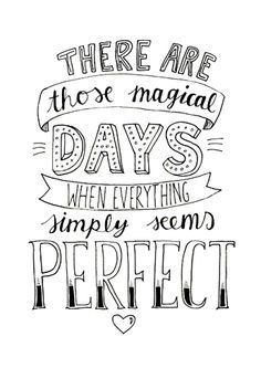 Perfect days.
