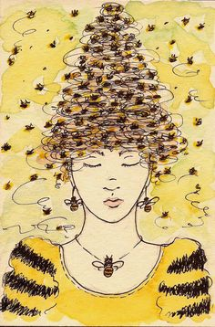 Vintage Bee & Beehives - Bee Decor — The Beehive Shoppe Bee Swarm, Vintage Bee, Save The Bees, Bee Happy, Bees Knees, Bee Keeping, Queen Bees, Illustration Art, Art Illustrations