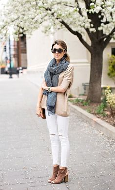 tort sunglasses, oversized scarf, neutral knit, white ripped jeans & brown peep toe booties #style #fashion #blogger