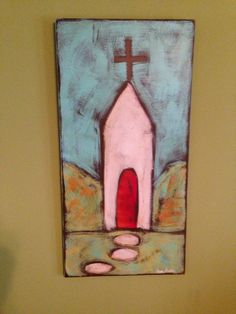 whimsical folk art of church with a primitive by WhimsyPrims, $75.00