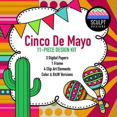 Make your Cinco De Mayo resources look amazing with this 11-piece Cinco De Mayo design kit in bright colors inspired by the beautiful designs and colors used in Mexican blankets.