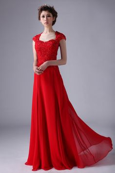 Online Shop 2014 New Spring Evening Dress Red Robe De Modest Prom Dresses With Sleeves Floor Length Lace Cap Shoulder Sleeve Cute Wedding Dress, Fall Wedding Dresses, Colored Wedding Dresses, Bridesmaid Dresses, Party Dresses, Grad Dresses, Dresses 2013, Ball Dresses, Dress Party