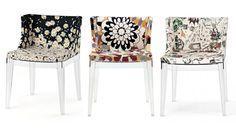 krzesło MADEMOISELLE - marka Kartell; projektant Philippe Starck. W kolekcji znajdują się krzesła w tkaninie Domu Mody MISSONI czy MOSCHINO. Jeszcze inną propozycją są rysunki ze szkicownika Franco Moschino.