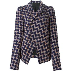 Haider Ackermann Geometric Converge Jacket ($1,410) ❤ liked on Polyvore featuring outerwear, jackets, navy, navy jacket, colorful jackets, haider ackermann, navy blue jacket and multi colored jacket