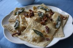 Homemade Ravioli filled with Homemade Lemon Ricotta, Chanterelles, and a Brown Butter, Sage Sauce topped with crushed Walnuts — Seaweed & Sassafras