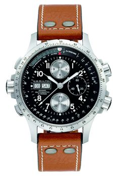 Brent L. Miller Jewelers & Goldsmiths | Gent's Hamilton Khaki X-Wind Automatic Watch Black Dial, Chronograph, Day/Date, Sapphire Crystal, Stainless Steel, Screw Down Crown, 44mm, Light Brown Leather Strap