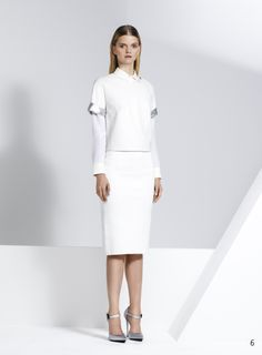 Jonathan Simkhai Resort 14- Cropped ivory and silver leather tee with ivory pencil skirt