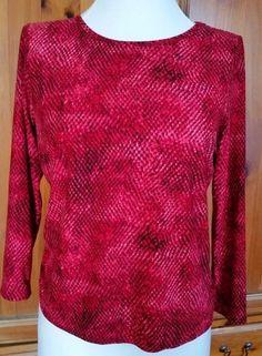Rafaella Womens Petite S  Blouse Long Sleeve Shirt Red Black Print PS small…